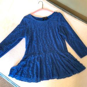 Women's marine blue ruffled top